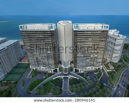 BAL HARBOUR - MAY 22: Aerial photo of the St Regis resort and condominium May 22, 2015 in Bal Harbour FL. St Regis is located at 9703 Collins Avenue Bal Harbour FL. - stock photo