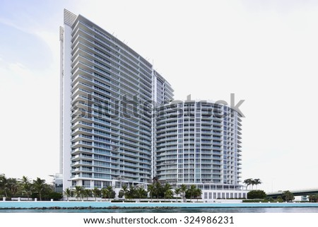 BAL HARBUOR - SEPTEMBER 14: Image of the Ritz Carlton Hotel and Resort located at 10295 Collins Ave offers guestat at 10,000 sqft waterfront spa September 14, 2015 in Bal Harbour Florida - stock photo