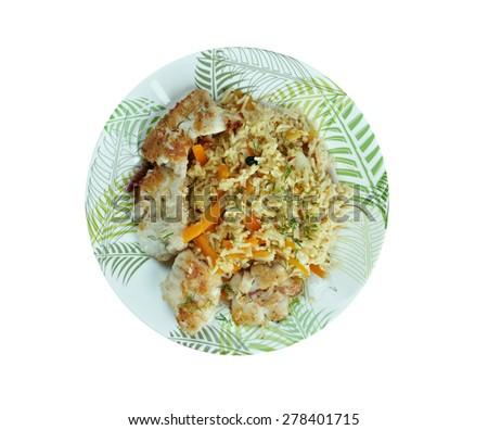 bal�±k plov - fish pilaf.Azerbaijan cuisine - stock photo