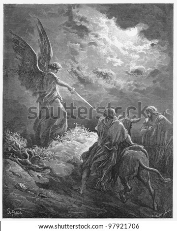 Balaam meets an angel -  Picture from The Holy Scriptures, Old and New Testaments books collection published in 1885, Stuttgart-Germany. Drawings by Gustave Dore. - stock photo