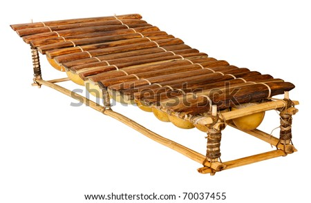 balafon, african musical instrument of wood and gourds, handmade traditional tuned percussion, wooden xylophone for afro music - isolated with clipping path - stock photo