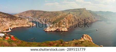 Balaklava city on the Crimean Peninsula. General view of Balaklava. Sevastopol, Crimea. Panoramic view of Balaklava Bay. - stock photo