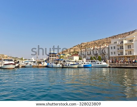 BALAKLAVA, SEVASTOPOL, REPUBLIC OF CRIMEA, RUSSIA - SEPTEMBER 23, 2015: Balaklava bay. Balaklava is a popular Crimean resort and famous historical place