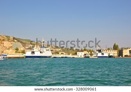 BALAKLAVA, SEVASTOPOL, REPUBLIC OF CRIMEA, RUSSIA - SEPTEMBER 23, 2015: Balaklava bay with military ships