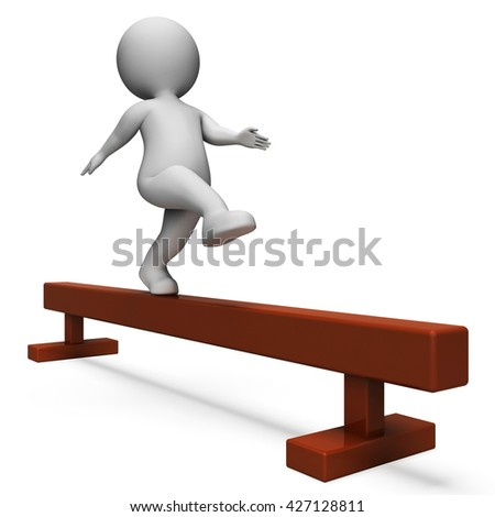 Balance Beam Showing Working Out And Man 3d Rendering - stock photo