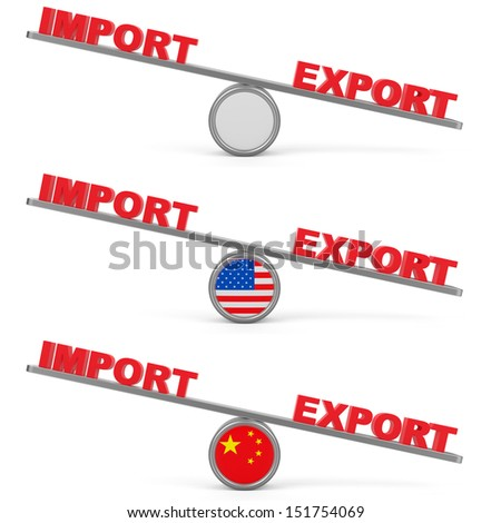 Balance between export and import.  Set of abstract business concepts. (USA, China and blank ).
