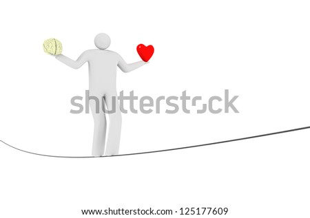 balance between heart and mind. - stock photo