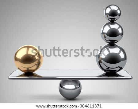 Balance between large gold and steel spheres. 3d illustration on a grey background. - stock photo