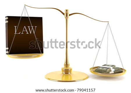 Balance between law and money - stock photo