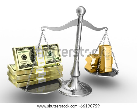 Balance between stack of money and stack of gold. - stock photo