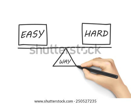 balance between ways of reaching a solution drawn by human hand over white background - stock photo