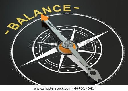 Balance compass concept, 3D rendering - stock photo