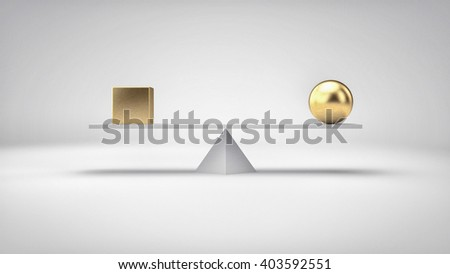 Balance concept illustration. Different geometric shapes in perfect balance. 3D Illustration. - stock photo