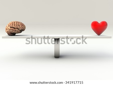 Balance Concept of brain and heart on a Seesaw - stock photo