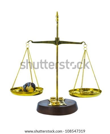 Balance for weighing small objects isolated on white background
