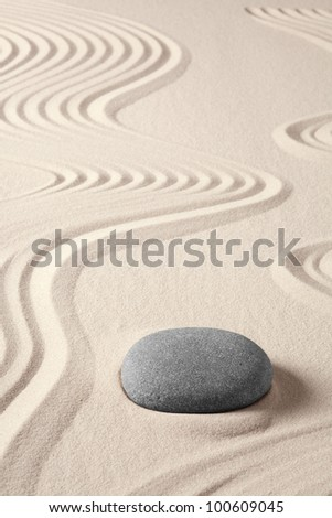 balance harmony zen meditation concept japanese garden simplicity purity and spirituality in pattern of sand and stones - stock photo