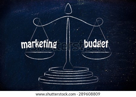 balance measuring business performance: marketing results & allocated budget - stock photo