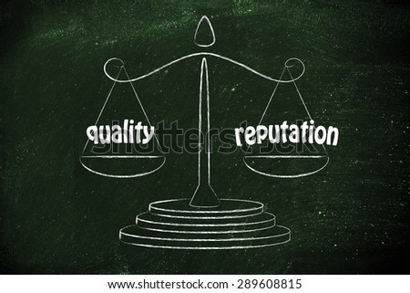 balance measuring business performance: quality products & building reputation - stock photo