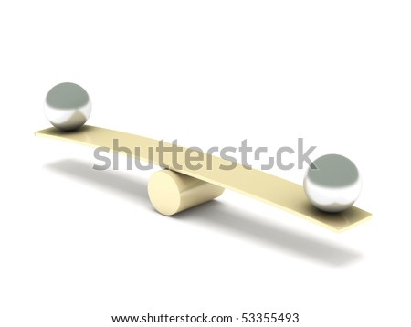 Balance. Metal balls on seesaw isolated on white background. High quality 3d render. - stock photo