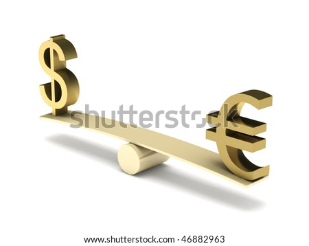 Balance of dollar and euro isolated on white background. High quality 3d render. - stock photo