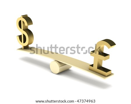Balance of dollar and pound sterling isolated on white background. High quality 3d render. - stock photo