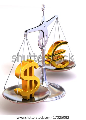 balance of euro and dollar. 3d - stock photo
