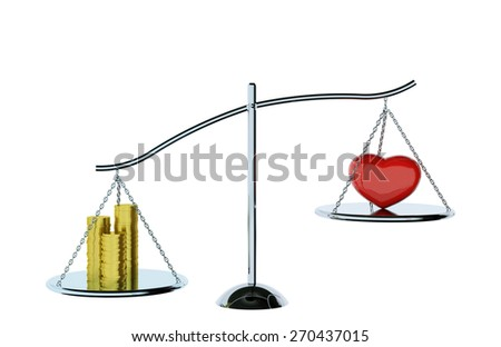 balance of love, money and heart on the scales balanced on white background.clipping path - stock photo