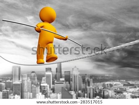 Balance, Risk, Tightrope. - stock photo