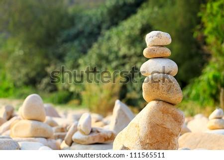 balance rock - stock photo