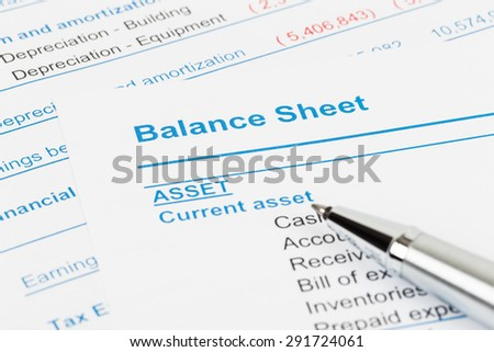 Balance sheet report; balance sheet is mock-up