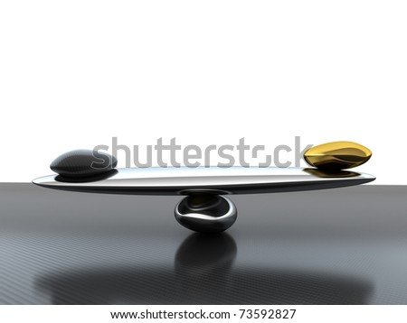 Balance: Stability scales with carbon fiber shape and gold on textured surface - stock photo