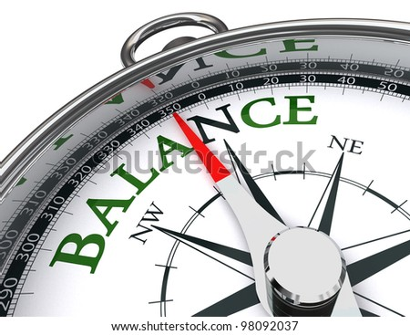 balance towards north green word indicated by compass conceptual image.clipping path included