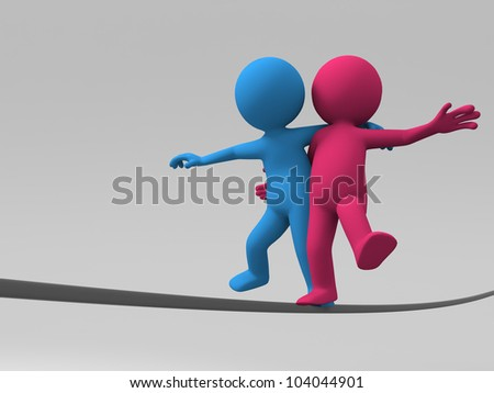 balance/Two 3d people are walking in steel wire - stock photo
