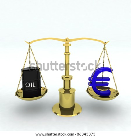 balance with bin oil and euro sign - stock photo