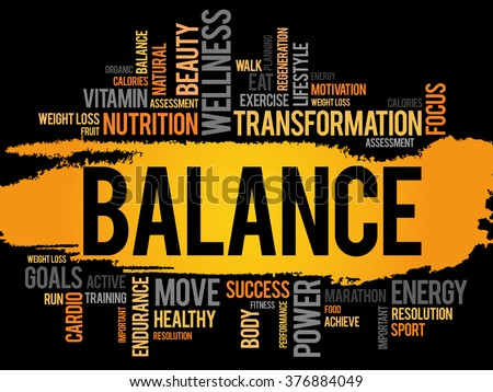 BALANCE word cloud, fitness, sport, health concept - stock photo