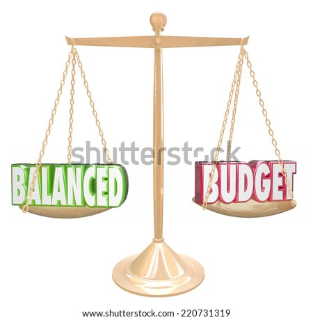 Balanced Budget 3d words on a gold scale weighing costs against revenues in accounting or bookkeeping - stock photo
