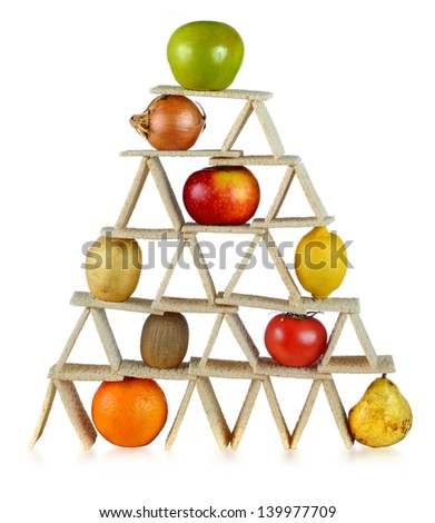 balanced diet, eating fruits and vegetables - stock photo