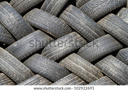 balanced range of used tires - stock photo