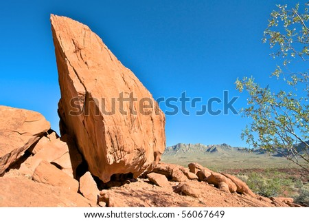 Balanced rock at Valley of Fire in Nevada. - stock photo