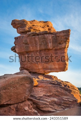 Balanced rock in the Garden of the Gods in Colorado Springs, Colorado - stock photo