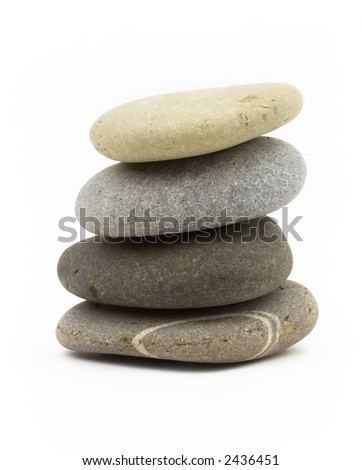 balanced stones isolated on the white background for your design and art-work - stock photo