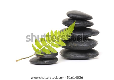 Balanced zen pebbles and a young green leaf - stock photo