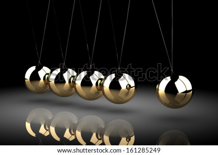 Balancing balls Newton's cradle (high resolution 3D image) - stock photo