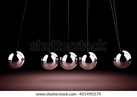 Balancing balls Newton's cradle (high resolution 3D image) - stock photo