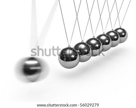 Balancing balls. Newton's cradle isolated on white background. - stock photo