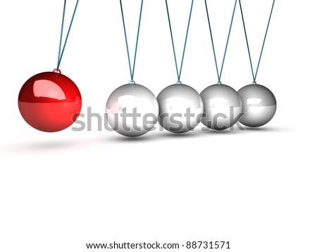 balancing balls newtons cradle over white background - stock photo