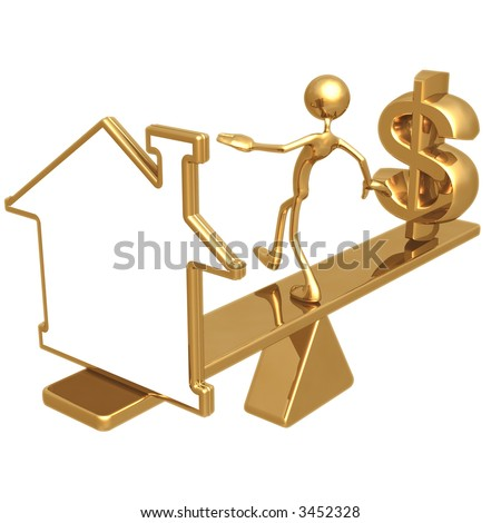 Balancing Blank Home Symbol Outline Sign And Dollar - stock photo