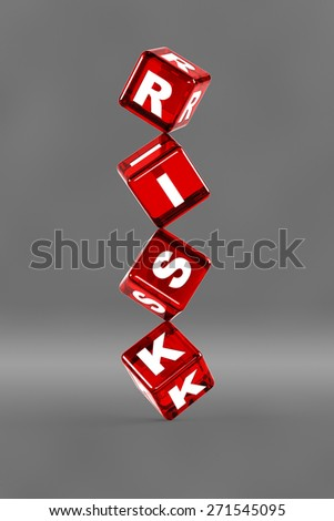 """Balancing dice with letters on them spelling """"risk"""". Conceptual illustration for risk related themes. - stock photo"""