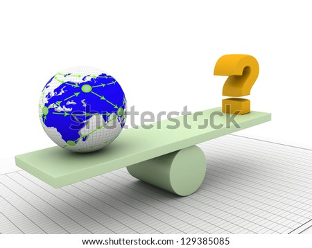 balancing earth and question mark - stock photo