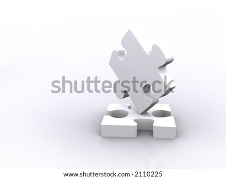 balancing puzzle pieces in 3d over white - stock photo